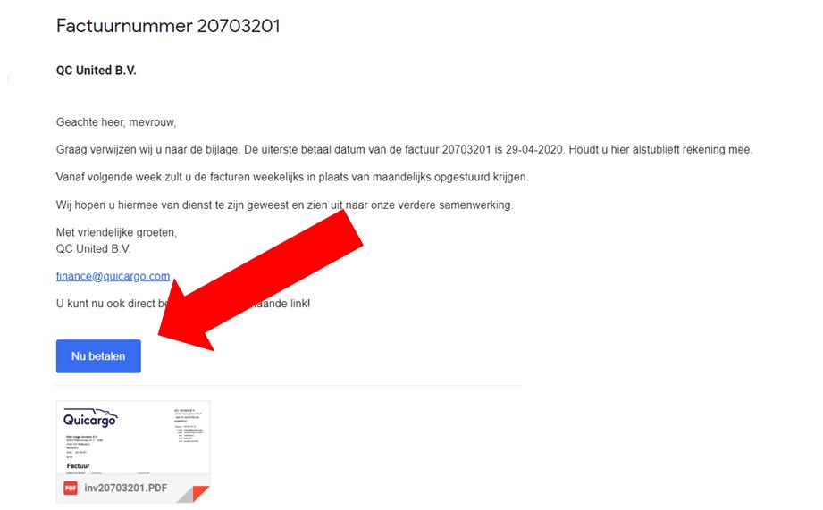 factuur en betaling email